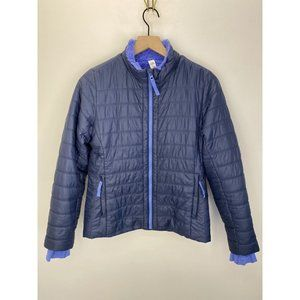 Athleta 100% Nylon Puffers Jacket Blue Size XL/14